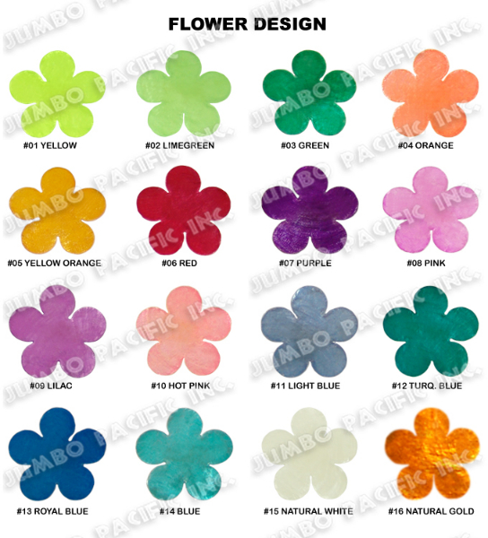 Capiz Colored Flowers Shape