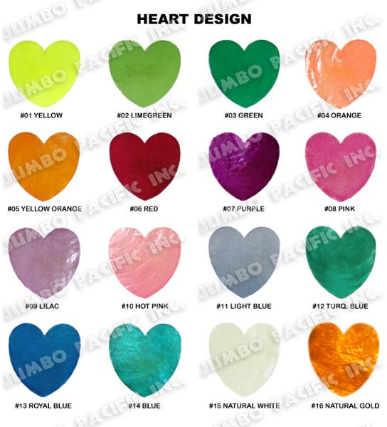 Capiz Colored Heart Shape