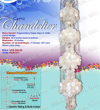 Capiz Shell Chandelier 4 Story Design in natural white round shapes